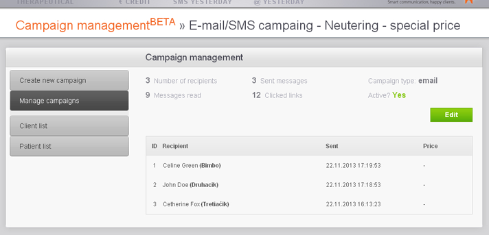 Management of email and sms campaigns and newsletters - news for animal owners